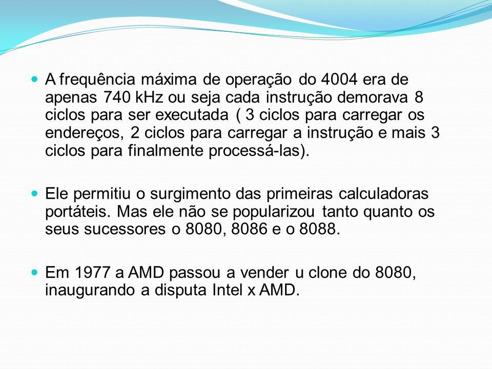 A frequência máxima de operação do 4004 era de apenas 740 kHz ou seja cada instrução demorava 8 ciclos para ser executada ( 3 ciclos para carregar os