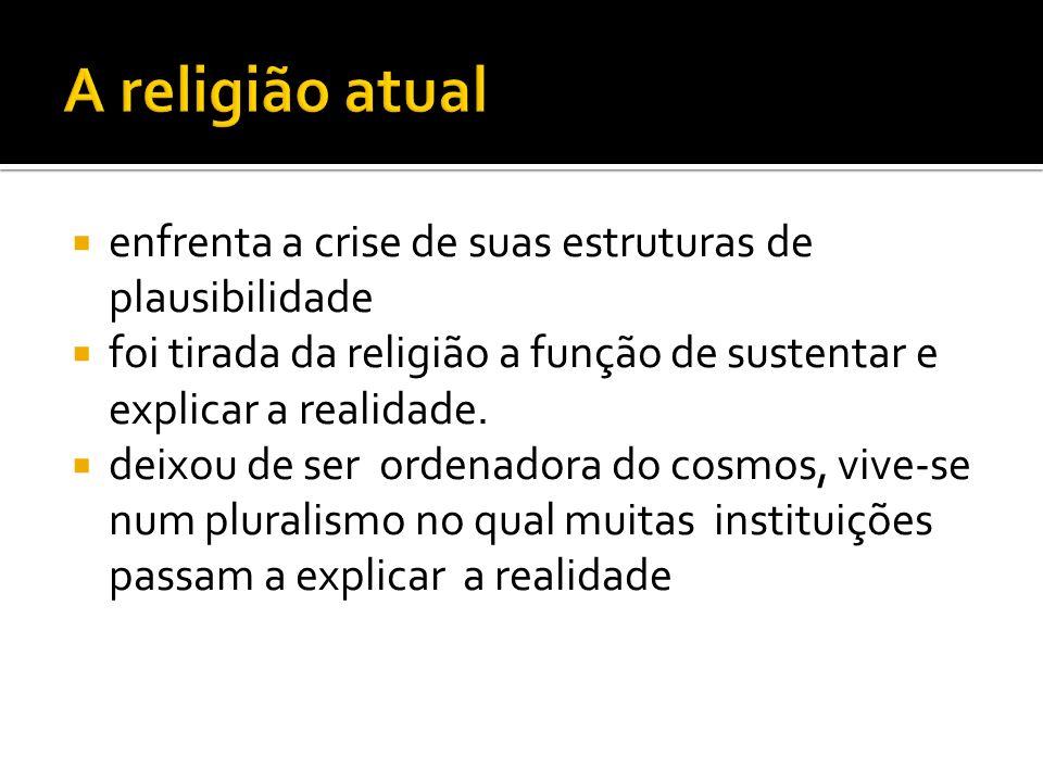 enfrenta a crise de suas estruturas de plausibilidade foi tirada da religião a função de sustentar e explicar a realidade.