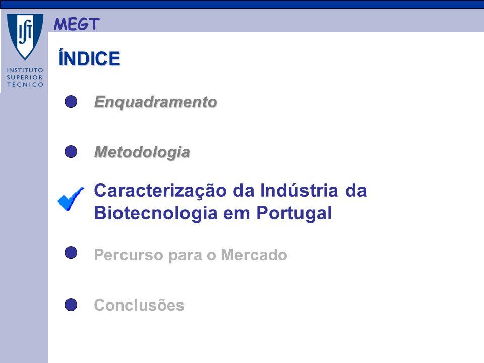 MEGT ÍNDICE ÍNDICE Enquadramento Metodologia Caracterização da Indústria da Biotecnologia em Portugal Conclusões Percurso para o Mercado