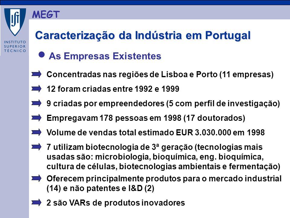MEGT As Empresas Existentes Concentradas nas regiões de Lisboa e Porto (11 empresas) 12 foram criadas entre 1992 e 1999 9 criadas por empreendedores (5 com perfil de investigação) Empregavam 178 pessoas em 1998 (17 doutorados) Volume de vendas total estimado EUR 3.030.000 em 1998 7 utilizam biotecnologia de 3ª geração (tecnologias mais usadas são: microbiologia, bioquímica, eng.