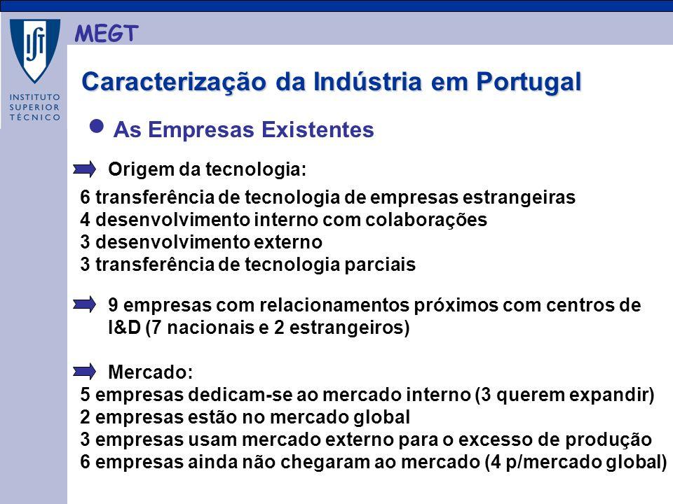 MEGT As Empresas Existentes Caracterização da Indústria em Portugal Caracterização da Indústria em Portugal Origem da tecnologia: 9 empresas com relacionamentos próximos com centros de I&D (7 nacionais e 2 estrangeiros) Mercado: 5 empresas dedicam-se ao mercado interno (3 querem expandir) 2 empresas estão no mercado global 3 empresas usam mercado externo para o excesso de produção 6 empresas ainda não chegaram ao mercado (4 p/mercado global) 6 transferência de tecnologia de empresas estrangeiras 4 desenvolvimento interno com colaborações 3 desenvolvimento externo 3 transferência de tecnologia parciais