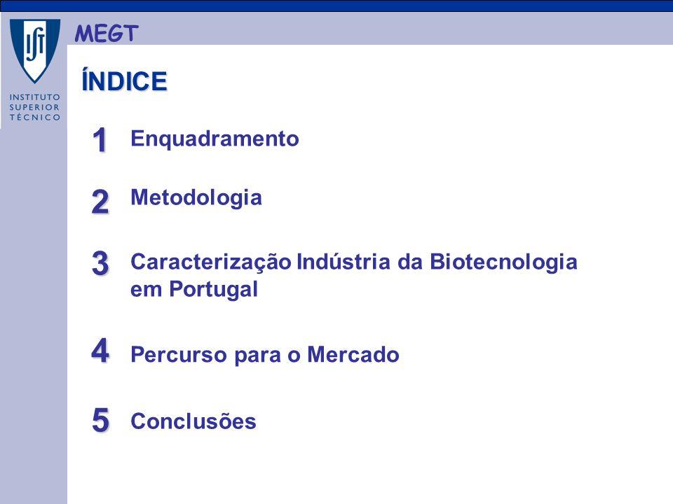MEGT ÍNDICE ÍNDICE Enquadramento Metodologia Caracterização Indústria da Biotecnologia em Portugal Conclusões Percurso para o Mercado 1 2 3 4 5