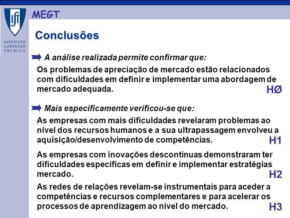 MEGT Conclusões Conclusões A análise realizada permite confirmar que: As empresas com mais dificuldades revelaram problemas ao nível dos recursos humanos e a sua ultrapassagem envolveu a aquisição/desenvolvimento de competências.