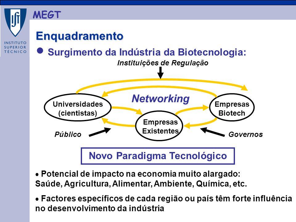 MEGT Surgimento da Indústria da Biotecnologia: Enquadramento Enquadramento Universidades (cientistas) Empresas Existentes Empresas Biotech Networking GovernosPúblico Instituições de Regulação Potencial de impacto na economia muito alargado: Saúde, Agricultura, Alimentar, Ambiente, Química, etc.