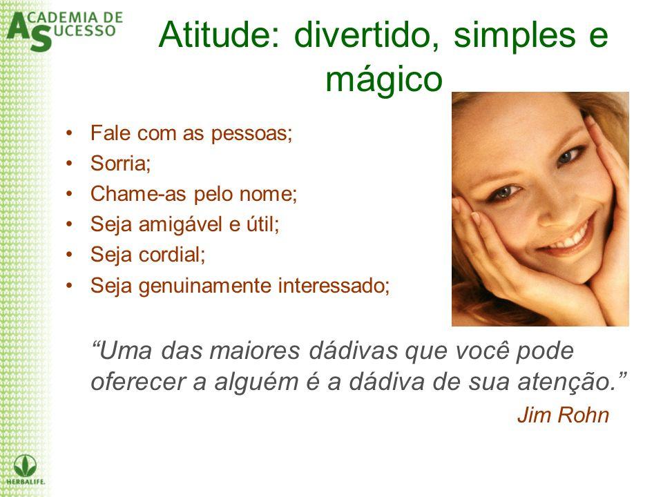 Atitude: divertido, simples e mágico Fale com as pessoas; Sorria; Chame-as pelo nome; Seja amigável e útil; Seja cordial; Seja genuinamente interessad
