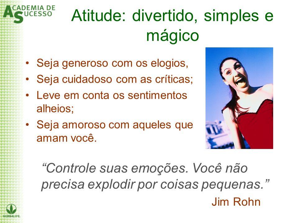 Atitude: divertido, simples e mágico Seja generoso com os elogios, Seja cuidadoso com as críticas; Leve em conta os sentimentos alheios; Seja amoroso