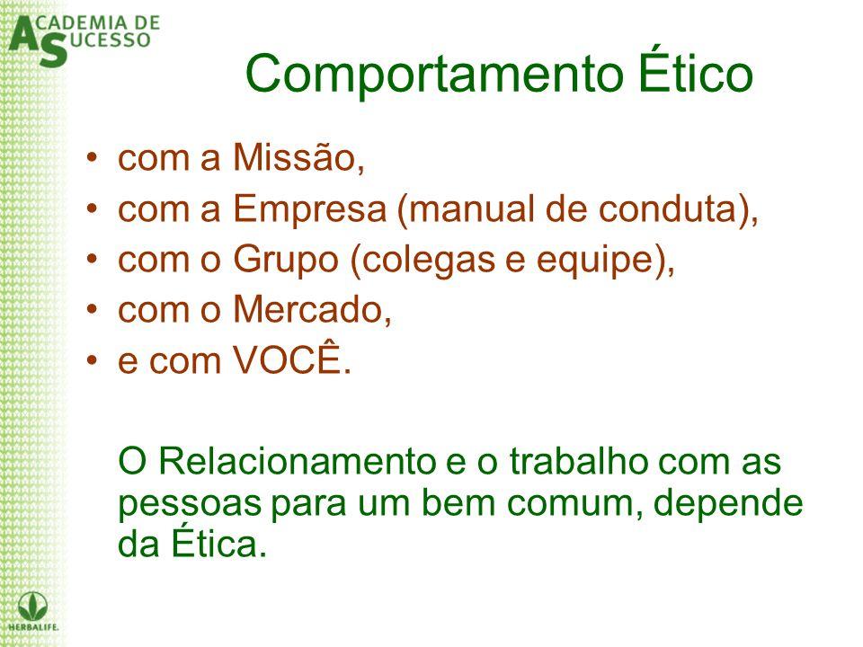 Comportamento Ético com a Missão, com a Empresa (manual de conduta), com o Grupo (colegas e equipe), com o Mercado, e com VOCÊ. O Relacionamento e o t