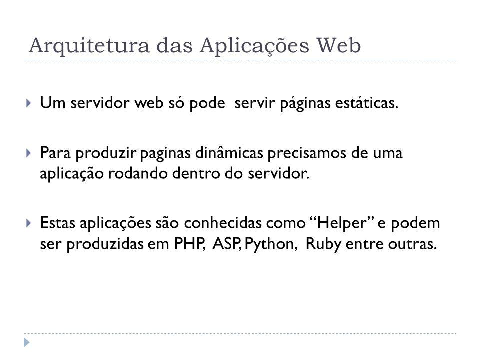 Arquitetura das Aplicações Web Um servidor web só pode servir páginas estáticas. Para produzir paginas dinâmicas precisamos de uma aplicação rodando d