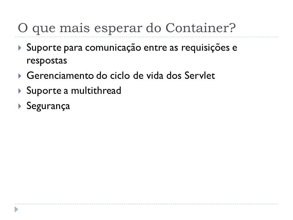 O que mais esperar do Container? Suporte para comunicação entre as requisições e respostas Gerenciamento do ciclo de vida dos Servlet Suporte a multit