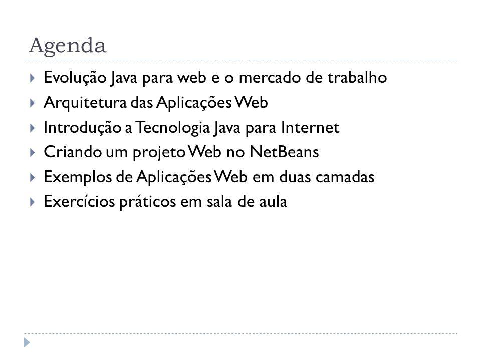 Agenda Evolução Java para web e o mercado de trabalho Arquitetura das Aplicações Web Introdução a Tecnologia Java para Internet Criando um projeto Web