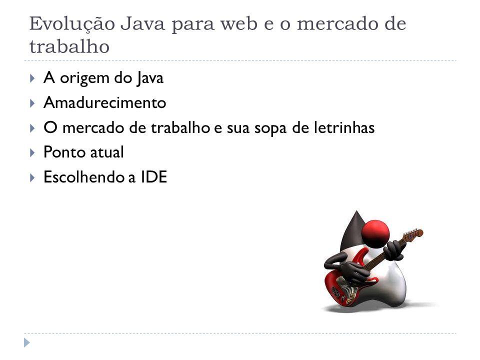 Evolução Java para web e o mercado de trabalho A origem do Java Amadurecimento O mercado de trabalho e sua sopa de letrinhas Ponto atual Escolhendo a
