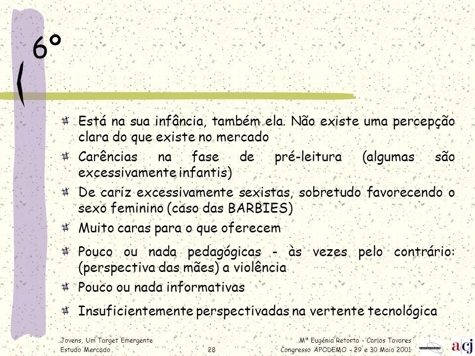Mª Eugénia Retorta - Carlos Tavares Congresso APODEMO – 29 e 30 Maio 2001 Jovens, Um Target Emergente Estudo Mercado28 6º Está na sua infância, também