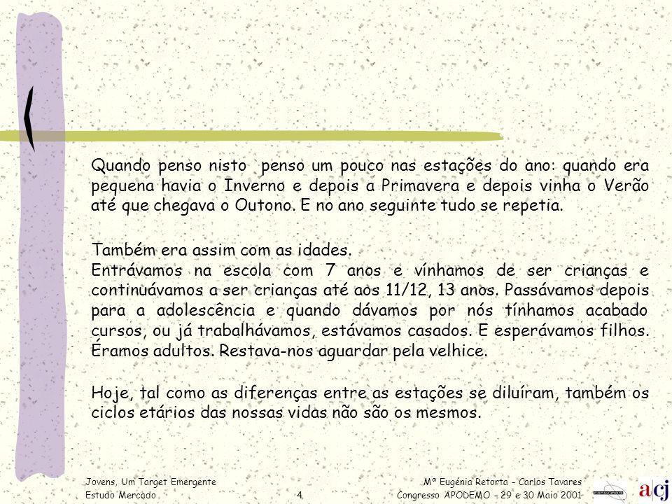 Mª Eugénia Retorta - Carlos Tavares Congresso APODEMO – 29 e 30 Maio 2001 Jovens, Um Target Emergente Estudo Mercado5 Verdadeiramente quando entramos na escola – e fazemo-lo muito mais cedo – já não somos crianças.