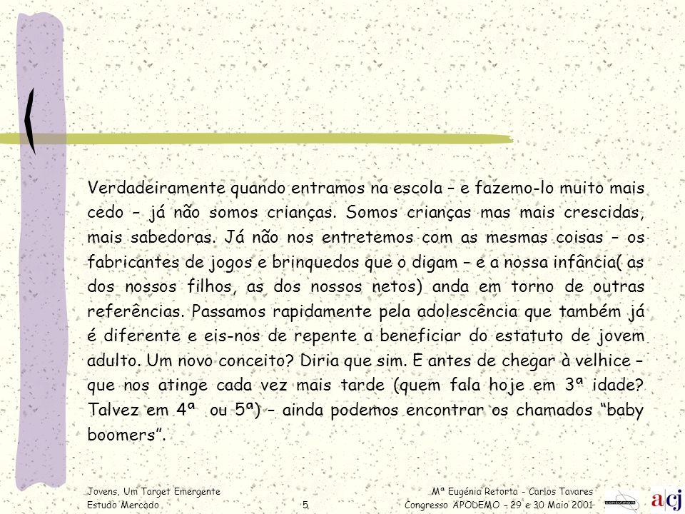 Mª Eugénia Retorta - Carlos Tavares Congresso APODEMO – 29 e 30 Maio 2001 Jovens, Um Target Emergente Estudo Mercado6 Porque são targets emergentes.
