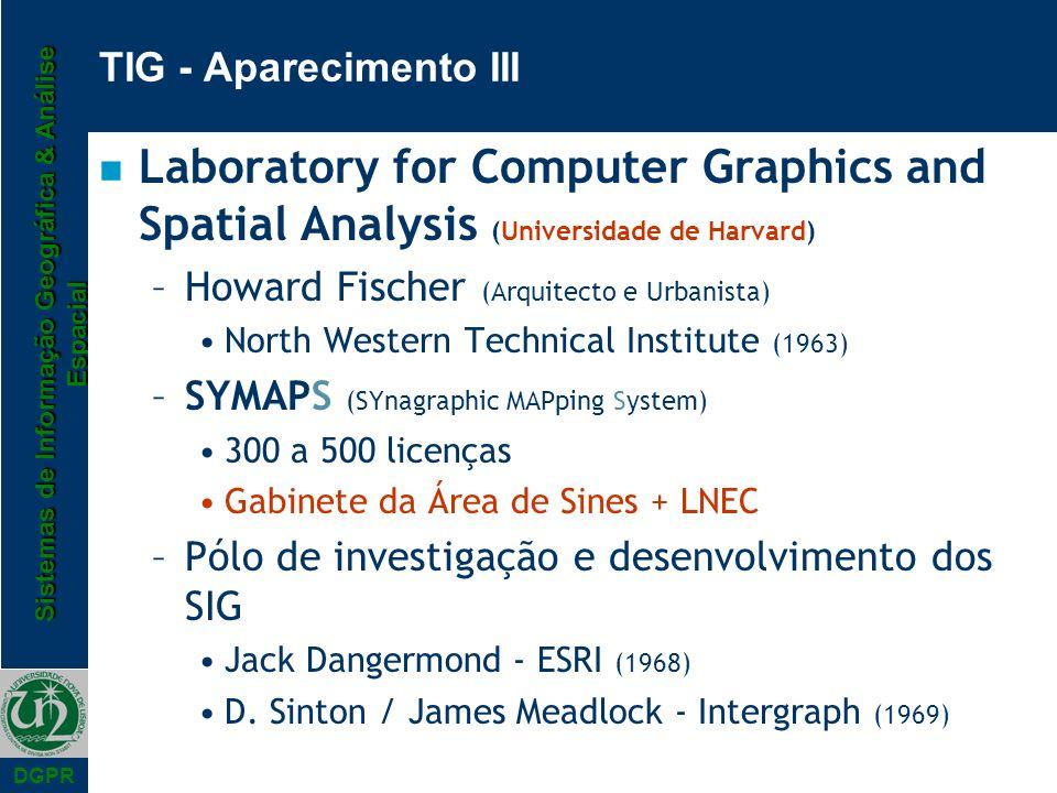 Sistemas de Informação Geográfica & Análise Espacial DGPR n Laboratory for Computer Graphics and Spatial Analysis (Universidade de Harvard) –Howard Fi
