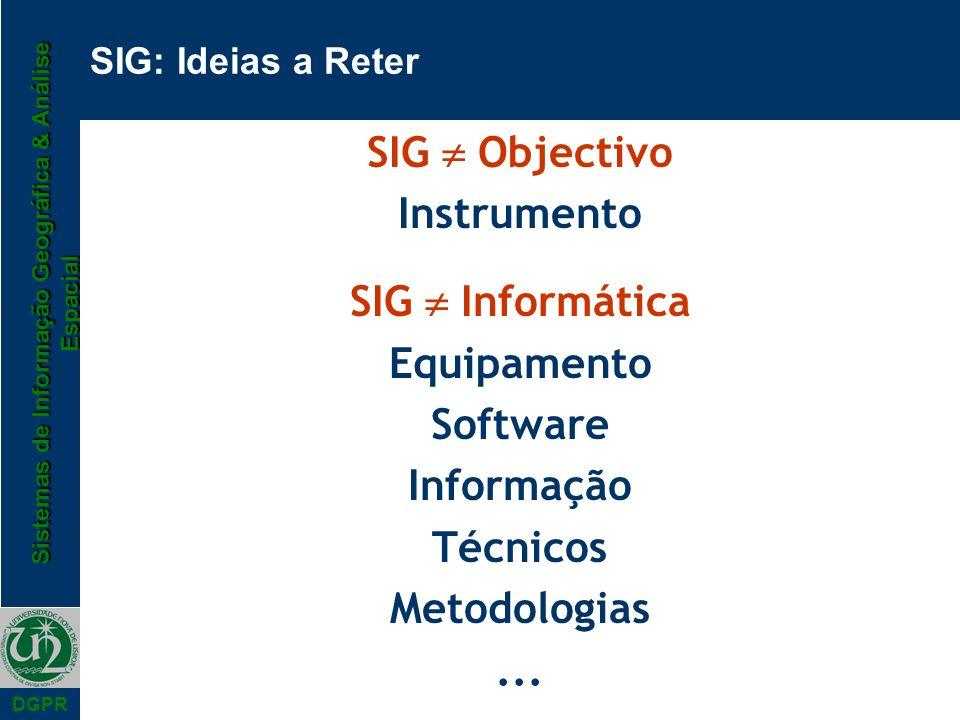 Sistemas de Informação Geográfica & Análise Espacial DGPR SIG: Ideias a Reter SIG Objectivo Instrumento SIG Informática Equipamento Software Informaçã