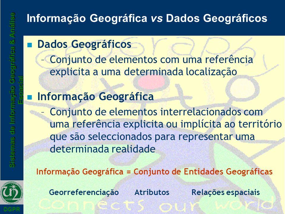 Sistemas de Informação Geográfica & Análise Espacial DGPR Informação Geográfica vs Dados Geográficos n Dados Geográficos –Conjunto de elementos com um