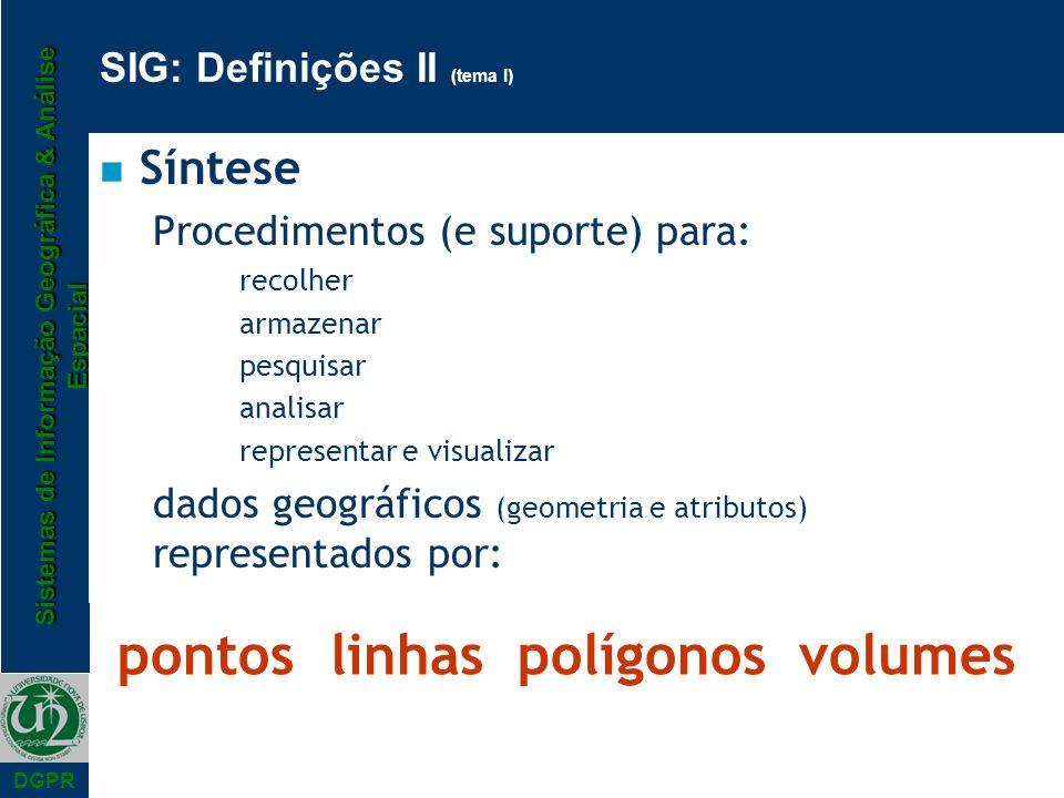 Sistemas de Informação Geográfica & Análise Espacial DGPR SIG: Definições II (tema I) n Síntese Procedimentos (e suporte) para: recolher armazenar pes