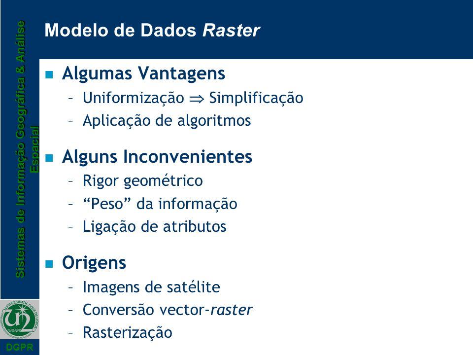 Sistemas de Informação Geográfica & Análise Espacial DGPR Modelo de Dados Raster n Algumas Vantagens –Uniformização Simplificação –Aplicação de algori