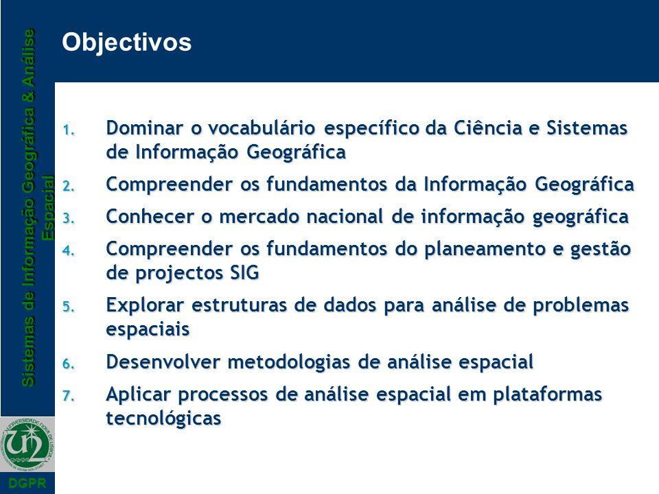 Sistemas de Informação Geográfica & Análise Espacial DGPR Objectivos 1. Dominar o vocabulário específico da Ciência e Sistemas de Informação Geográfic