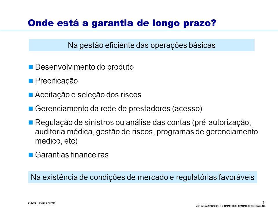 © 2005 Towers Perrin S:\21857\05welf\apresentacoes\beneficio saude otimizando resultados 2005.ppt 4 Onde está a garantia de longo prazo.