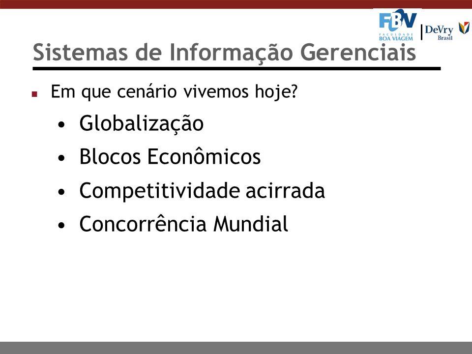 Sistemas de Informação Gerenciais n Em que cenário vivemos hoje? Globalização Blocos Econômicos Competitividade acirrada Concorrência Mundial