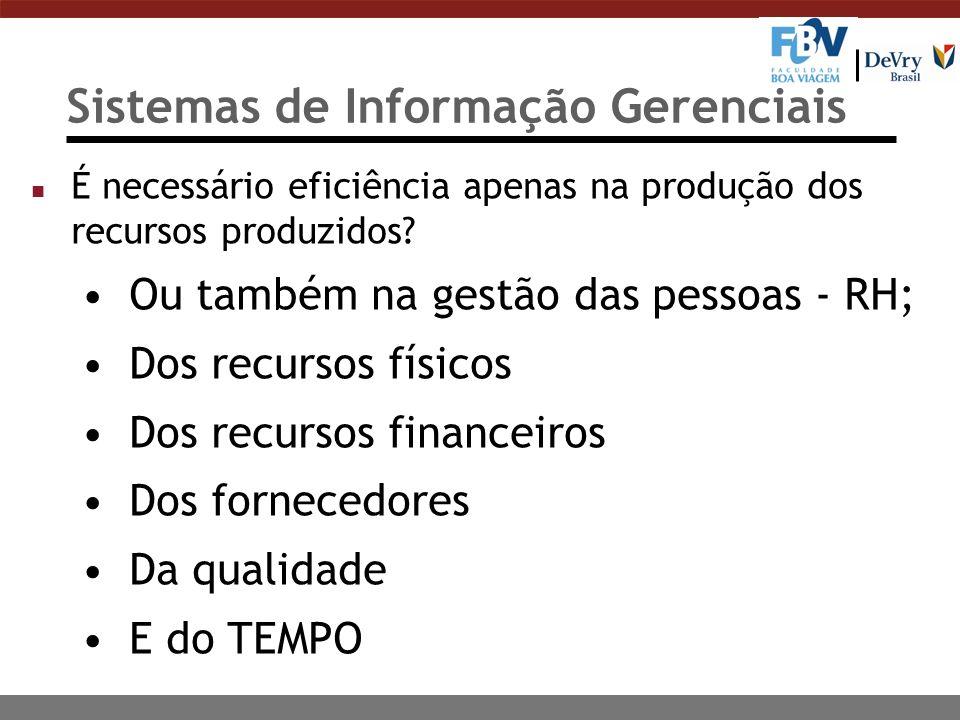 Sistemas de Informação Gerenciais n É necessário eficiência apenas na produção dos recursos produzidos? Ou também na gestão das pessoas - RH; Dos recu