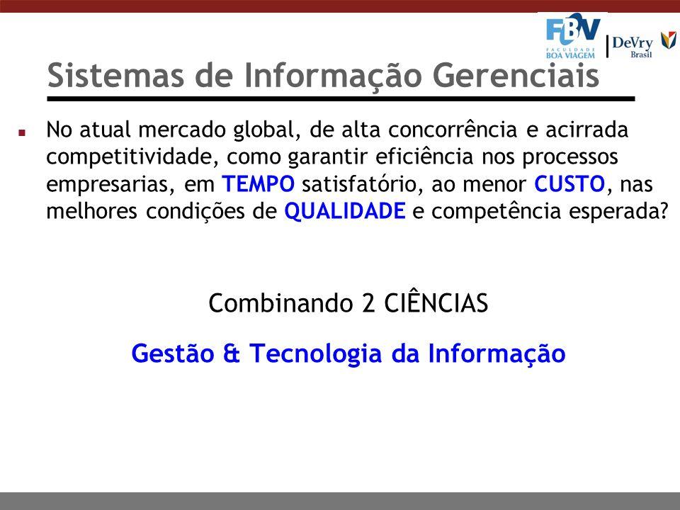 Sistemas de Informação Gerenciais n No atual mercado global, de alta concorrência e acirrada competitividade, como garantir eficiência nos processos e