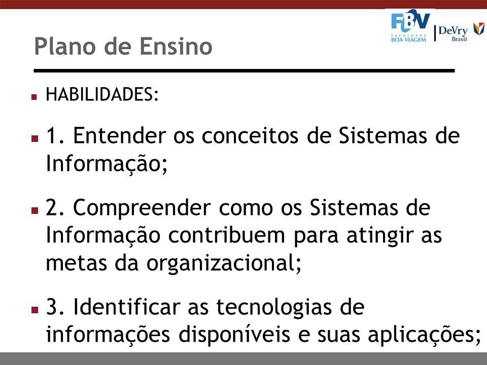 Plano de Ensino n HABILIDADES: n 1. Entender os conceitos de Sistemas de Informação; n 2. Compreender como os Sistemas de Informação contribuem para a