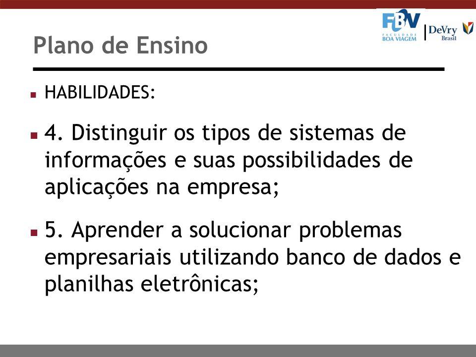 Plano de Ensino n HABILIDADES: n 4. Distinguir os tipos de sistemas de informações e suas possibilidades de aplicações na empresa; n 5. Aprender a sol