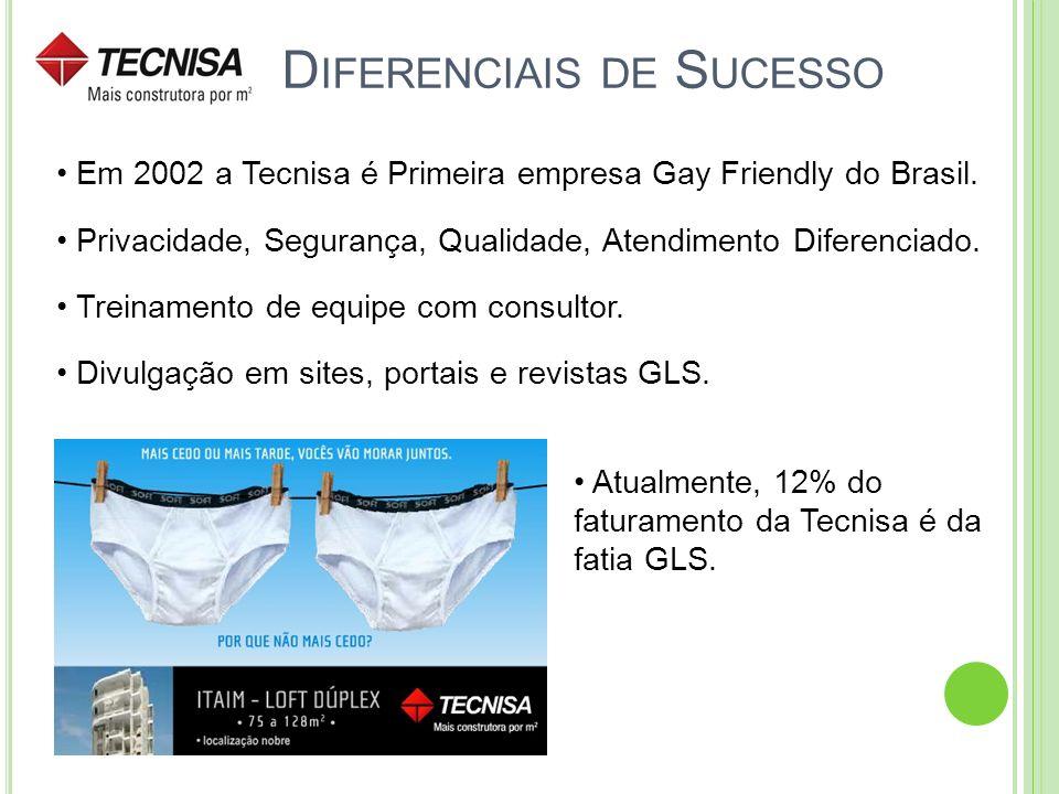 D IFERENCIAIS DE S UCESSO Em 2002 a Tecnisa é Primeira empresa Gay Friendly do Brasil. Privacidade, Segurança, Qualidade, Atendimento Diferenciado. Tr