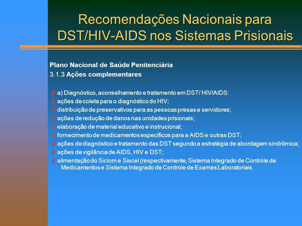 Recomendações Nacionais para DST/HIV-AIDS nos Sistemas Prisionais Plano Nacional de Saúde Penitenciária 3.1.3 Ações complementares a) Diagnóstico, aco