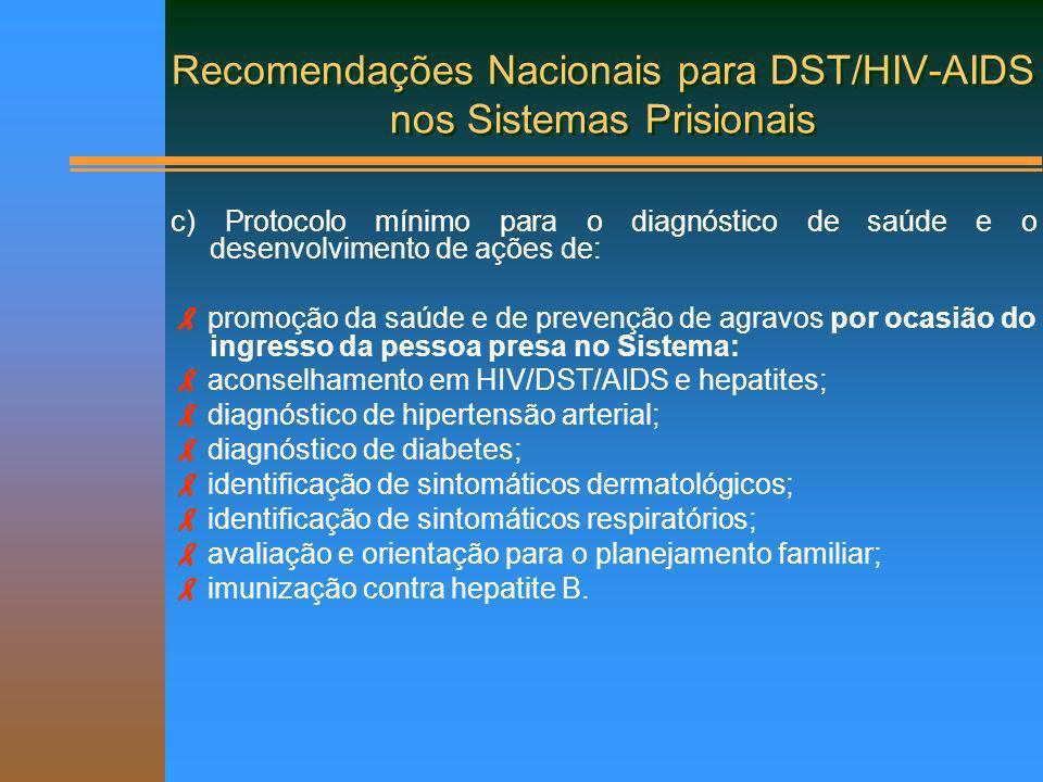 Recomendações Nacionais para DST/HIV-AIDS nos Sistemas Prisionais c) Protocolo mínimo para o diagnóstico de saúde e o desenvolvimento de ações de: pro
