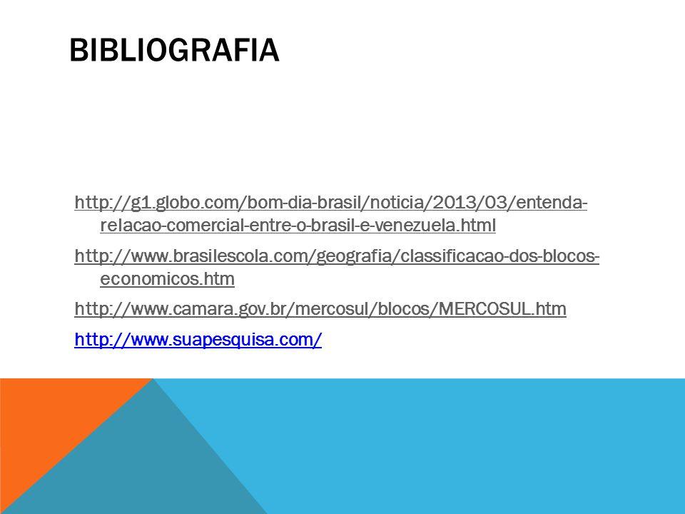 BIBLIOGRAFIA http://g1.globo.com/bom-dia-brasil/noticia/2013/03/entenda- relacao-comercial-entre-o-brasil-e-venezuela.html http://www.brasilescola.com