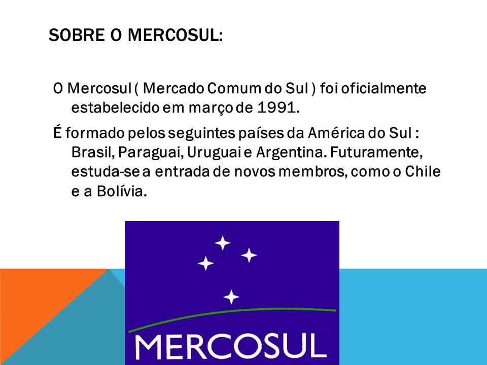 SOBRE O MERCOSUL: O Mercosul ( Mercado Comum do Sul ) foi oficialmente estabelecido em março de 1991. É formado pelos seguintes países da América do S