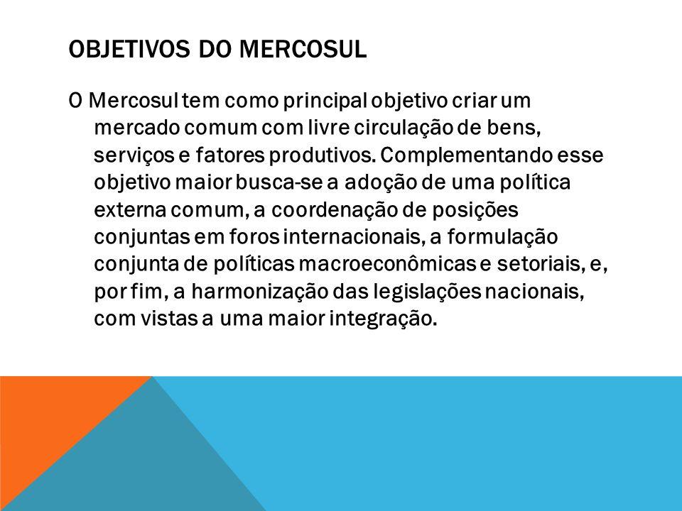 OBJETIVOS DO MERCOSUL O Mercosul tem como principal objetivo criar um mercado comum com livre circulação de bens, serviços e fatores produtivos. Compl