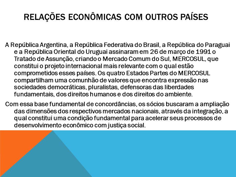 RELAÇÕES ECONÔMICAS COM OUTROS PAÍSES A República Argentina, a República Federativa do Brasil, a República do Paraguai e a República Oriental do Urugu