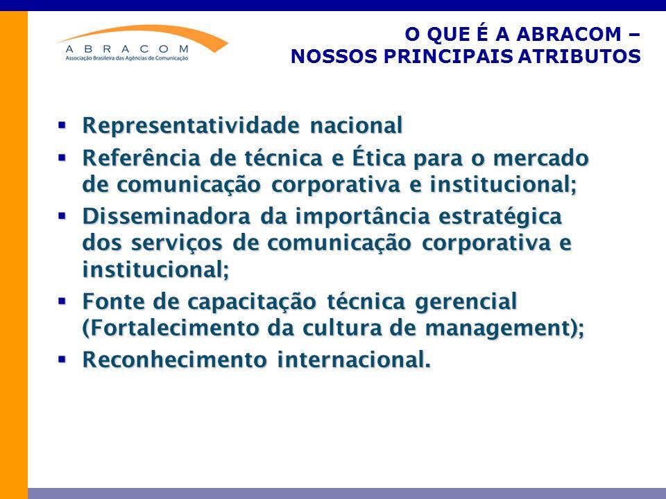 O QUE É A ABRACOM – NOSSOS PRINCIPAIS ATRIBUTOS Representatividade nacional Representatividade nacional Referência de técnica e Ética para o mercado d