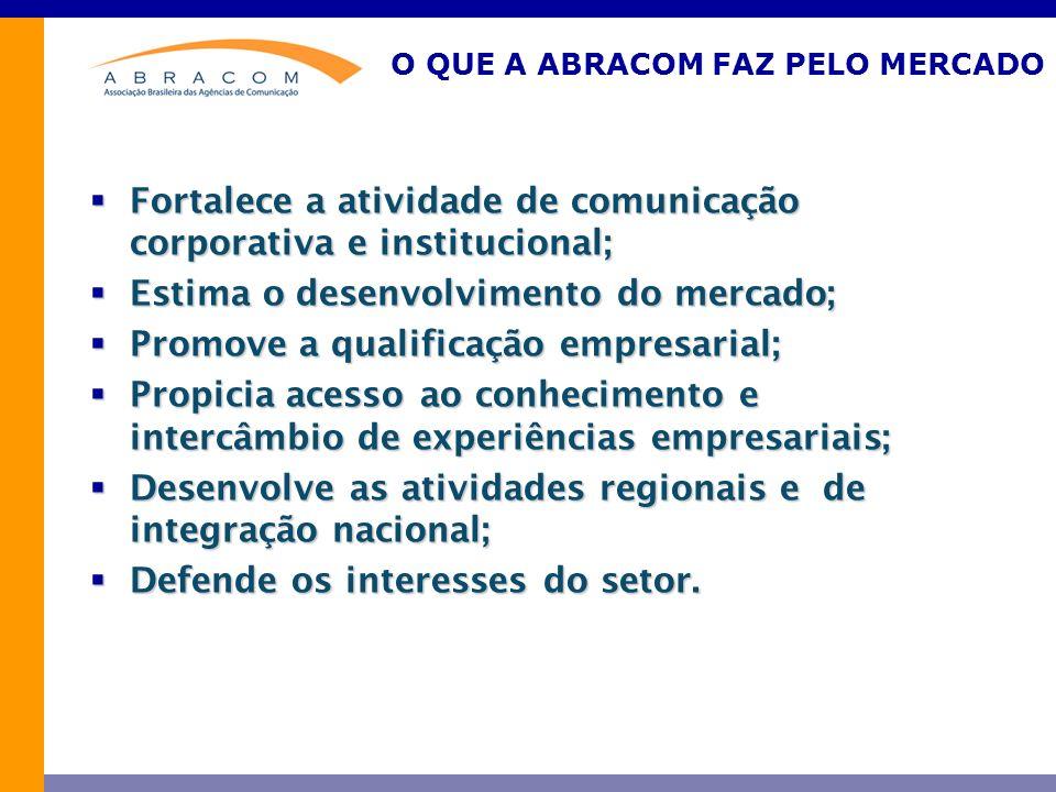 O QUE A ABRACOM FAZ PELO MERCADO Fortalece a atividade de comunicação corporativa e institucional; Fortalece a atividade de comunicação corporativa e institucional; Estima o desenvolvimento do mercado; Estima o desenvolvimento do mercado; Promove a qualificação empresarial; Promove a qualificação empresarial; Propicia acesso ao conhecimento e intercâmbio de experiências empresariais; Propicia acesso ao conhecimento e intercâmbio de experiências empresariais; Desenvolve as atividades regionais e de integração nacional; Desenvolve as atividades regionais e de integração nacional; Defende os interesses do setor.