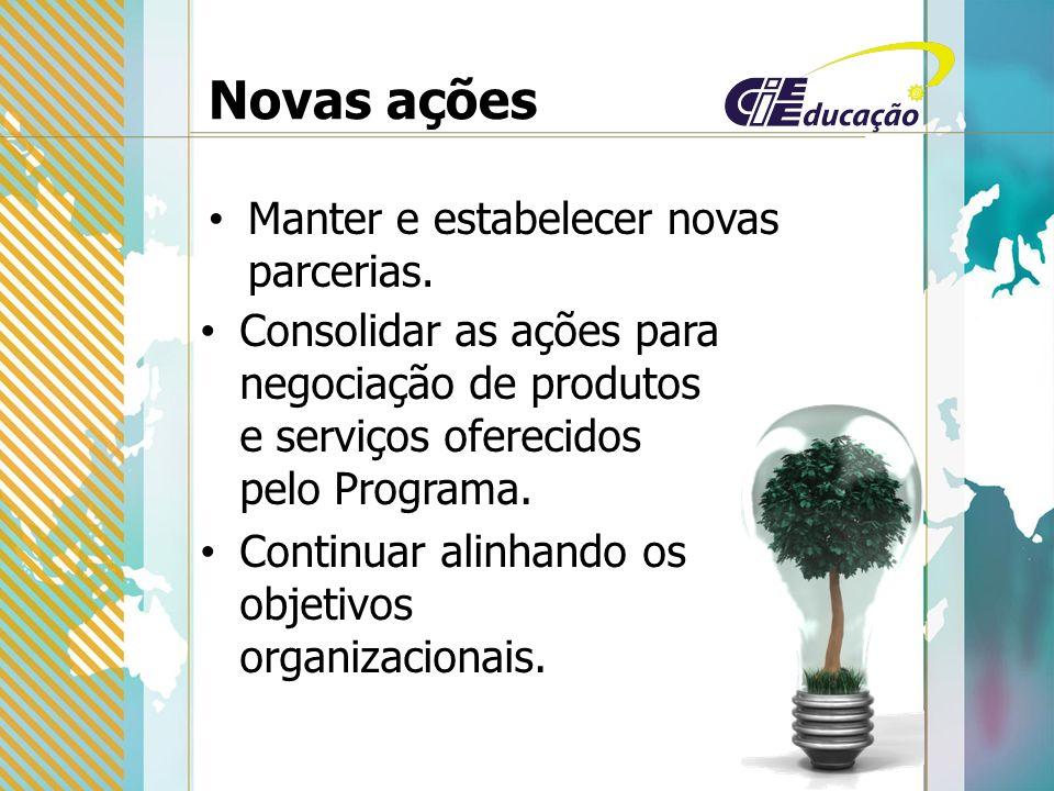 Novas ações Manter e estabelecer novas parcerias.