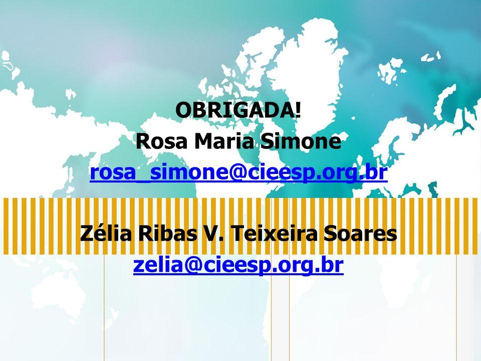 OBRIGADA. Rosa Maria Simone rosa_simone@cieesp.org.br Zélia Ribas V.