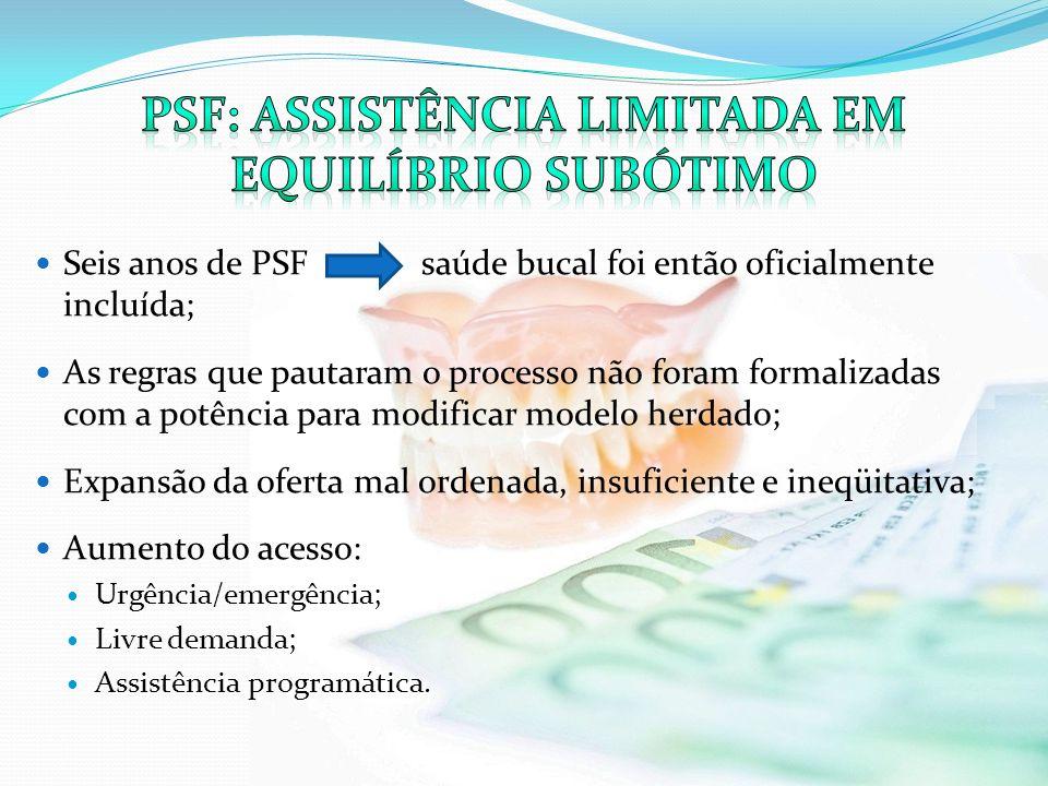 Seis anos de PSF saúde bucal foi então oficialmente incluída; As regras que pautaram o processo não foram formalizadas com a potência para modificar m