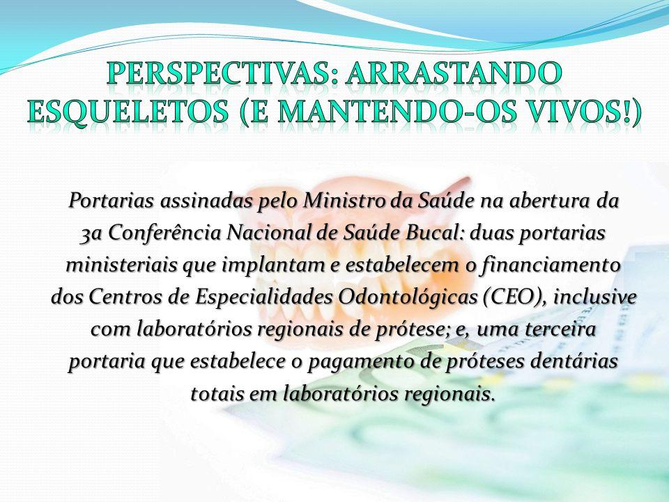 Portarias assinadas pelo Ministro da Saúde na abertura da 3a Conferência Nacional de Saúde Bucal: duas portarias ministeriais que implantam e estabele