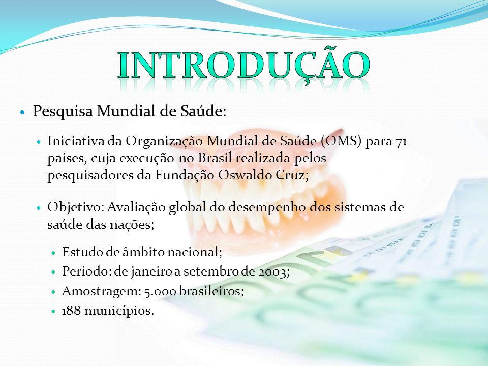 Pesquisa Mundial de Saúde: Iniciativa da Organização Mundial de Saúde (OMS) para 71 países, cuja execução no Brasil realizada pelos pesquisadores da F