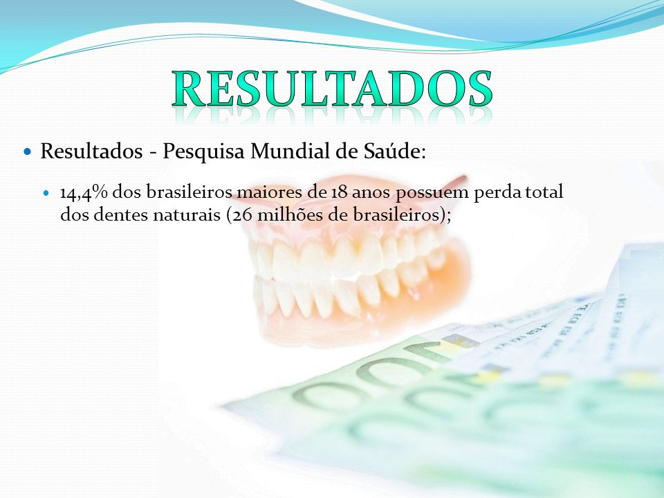 Resultados - Programa Saúde em Casa de Planaltina- SUS/DF: 18,1% da população domiciliada em Planaltina (17,5 mil residentes) necessitando de algum tipo de prótese dentária; A necessidade de prótese total em 4,5 mil residentes, corresponde a 4,7% da população geral e 31% dos maiores de 18 anos.