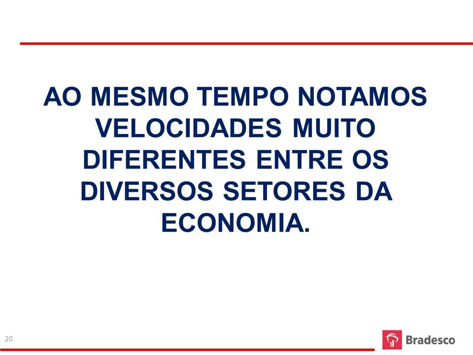 AO MESMO TEMPO NOTAMOS VELOCIDADES MUITO DIFERENTES ENTRE OS DIVERSOS SETORES DA ECONOMIA. 20