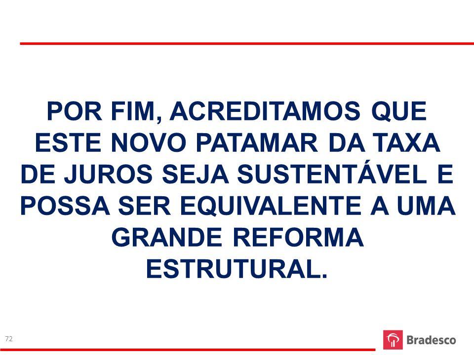 POR FIM, ACREDITAMOS QUE ESTE NOVO PATAMAR DA TAXA DE JUROS SEJA SUSTENTÁVEL E POSSA SER EQUIVALENTE A UMA GRANDE REFORMA ESTRUTURAL. 72