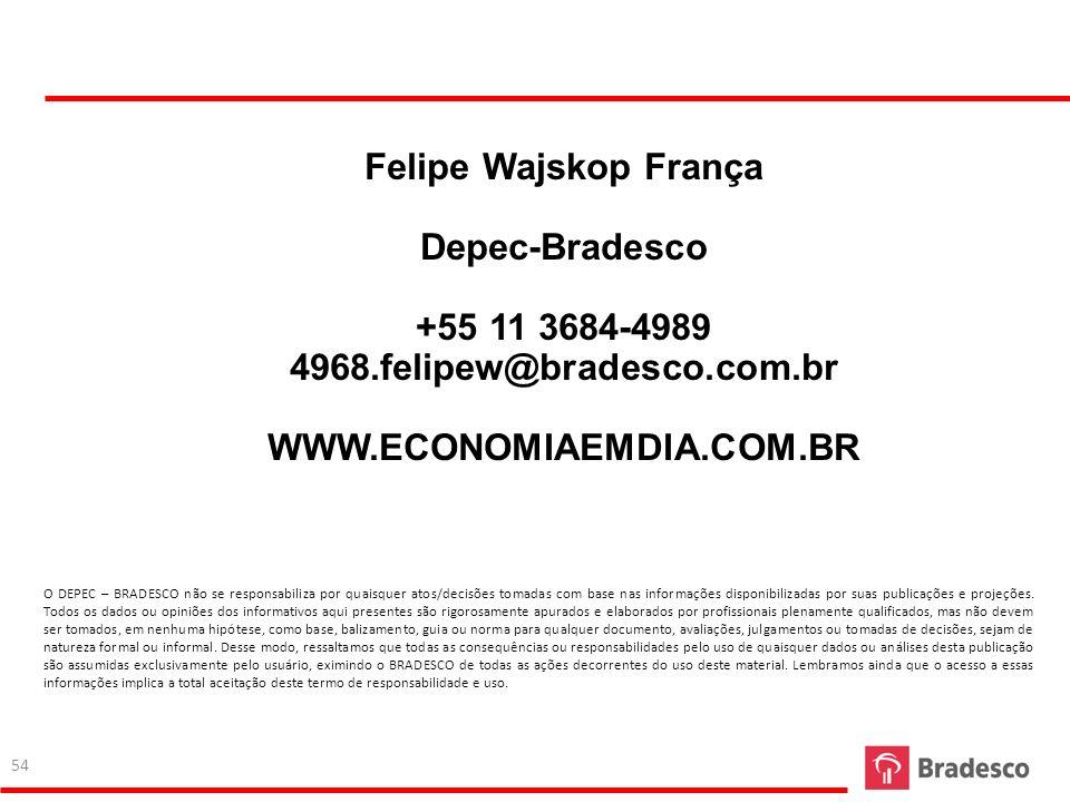 Felipe Wajskop França Depec-Bradesco +55 11 3684-4989 4968.felipew@bradesco.com.br WWW.ECONOMIAEMDIA.COM.BR O DEPEC – BRADESCO não se responsabiliza p