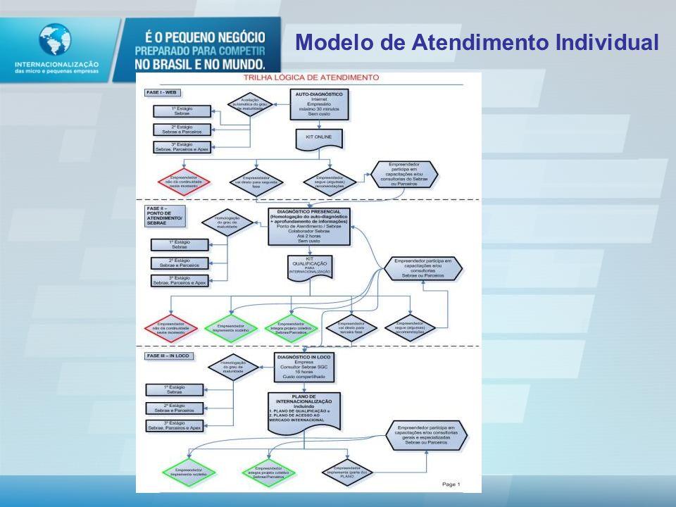 Modelo de Atendimento Formas de atender: Cliente Individual On-line Presencial Grupos de empresas – coletivo On-line Presencial