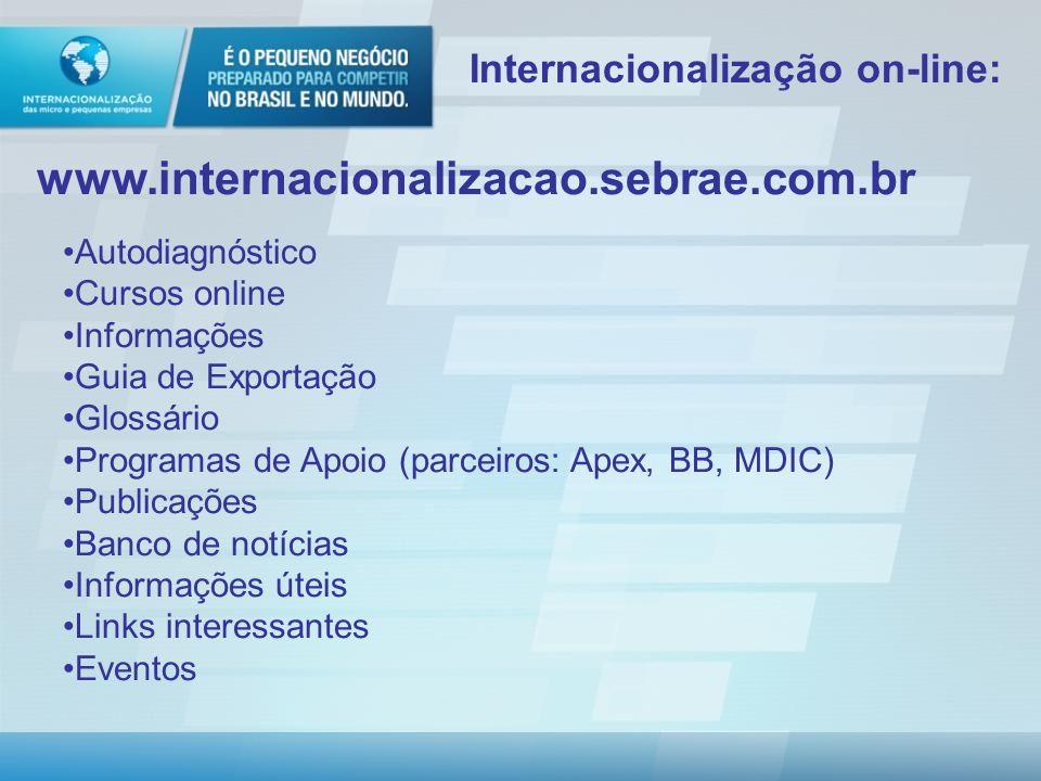 Modelo de Atendimento Fases Entregas para o cliente I KIT ONLINE - Avaliação da Capacidade de Internacionalização + Recomendações e indicação de produtos e serviços Sebrae e Parceiros – sem custo II KIT QUALIFICAÇÃO PARA INTERNACIONALIZAÇÃO – Avaliação aprofundada + Guia básico de Exportação + Recomendações direcionadas e indicação de produtos e serviços Sebrae e Parceiros – custo (decisão UF) III KIT INTERNACIONALIZAÇÃO – Plano de qualificação Plano de acesso ao mercado internacional 20h de consultoria – com custo.